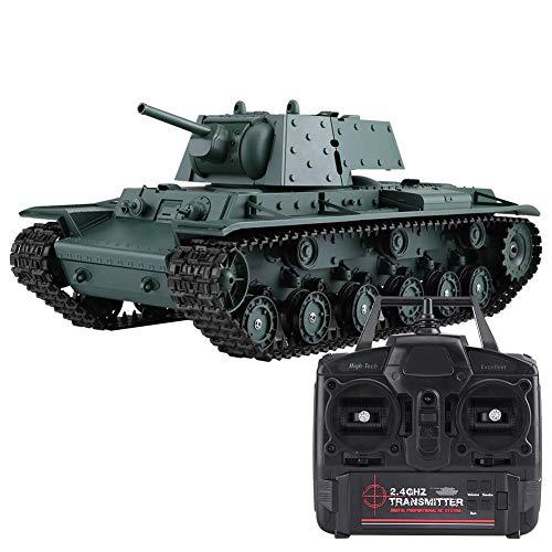 ロシア・ソビエトKV-1 RCタンク 戦車 RCモデル 模擬モデル 軍用車両 大型 軍隊ファン対応 2.4GHz HongLong 1/16 3878-1 USBケーブル充電 バッテリ付き グリーンカラー