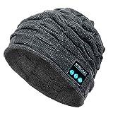 PASATO New Winter Unisex Bluetooth Wireless Smart Beanie Keep Warm Windproof Hat Handsfree Music Speaker (Gray,Free Size)
