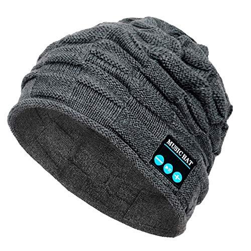 PASATO New Winter Unisex Bluetooth Wireless Smart Beanie Keep Warm Windproof Hat Handsfree Music Speaker (Gray,Free Size)]()