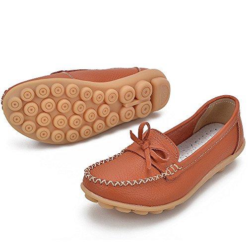 Earsoon Loafers Schuhe für Frauen Leder - Handwerk 2018 Frühjahr neue exklusive Serie Slip On Loafers Damen Penny Schwarz Comfort Walking Flat Loafers Orange