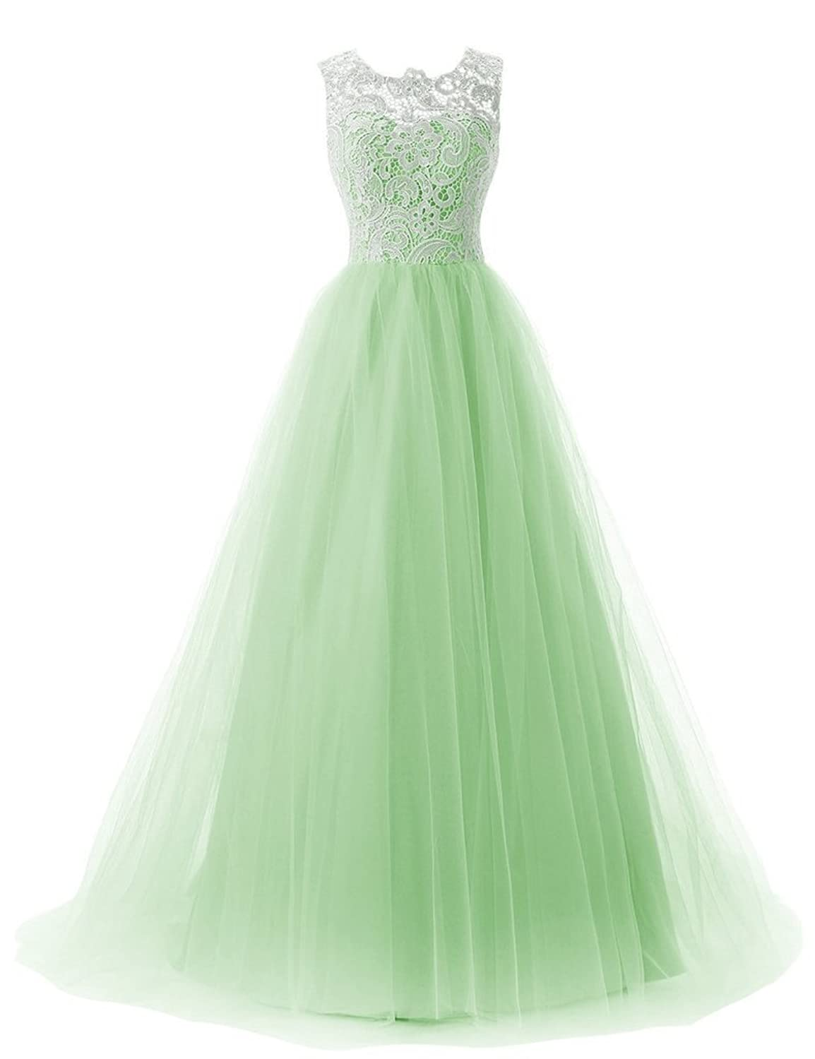 Amazon.com: JoyVany Tulle Party Prom Dresses 2018 Lace Formal ...