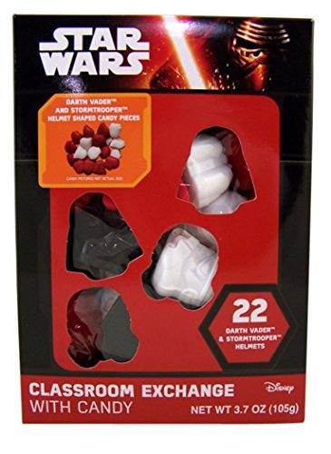 Star Wars Darth Vader and Stormtrooper Helmet Candy for Classroom Exchange, Box of 22