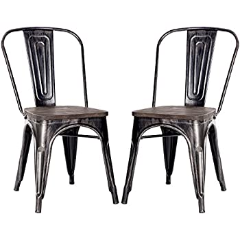 Amazon Com Dhp Fusion Metal Dining Chair With Wood Seat Set Of