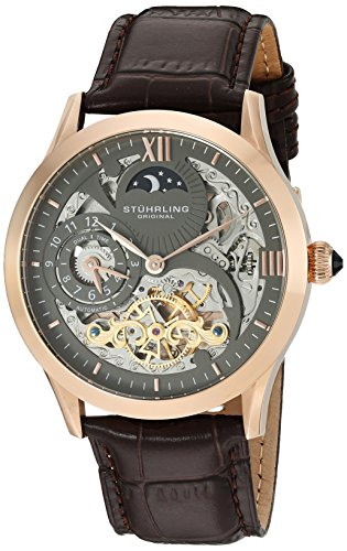 Stuhrling Original Men's Classic Winchester Tempest II 16k Rose Gold-Plated Brown Leather Strap Watch
