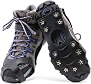 11 Spikes Crampons, Upgraded Version Stainless Steel Anti-Slip Microspikes,Ice Cleats Traction Grips for Hikin