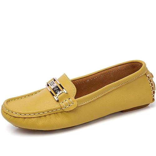 Las Mujeres Mocasines Cuero Zapatos Pisos clásico resbalón en Mocasines: Amazon.es: Zapatos y complementos