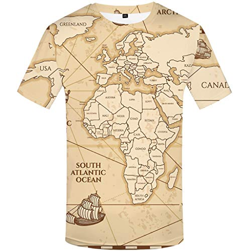 MIS1950s Men's T-Shirts Loose 3D Map Printed Tops Blouse Tee
