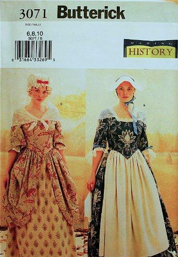 Amazon.com: Butterick 3071 Colonial Dress Costume Size 6-8-10(Bust ...
