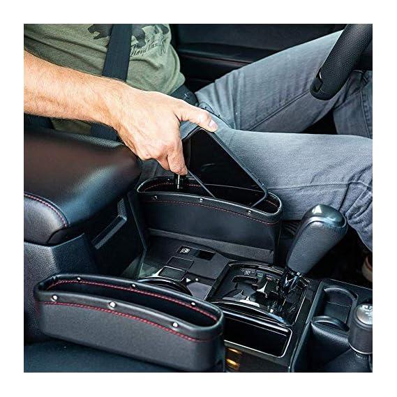 Lukzer 1 PC Leather PU Car Console Side Storage Organizer Seat Gap Filler Pockets Catch Caddy (Black)