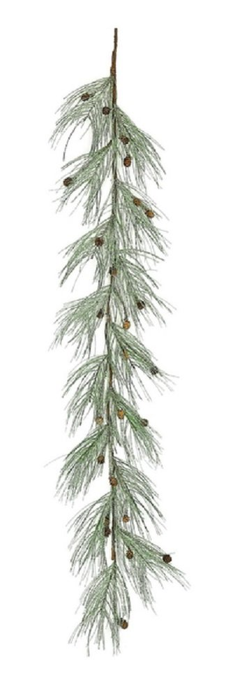 Christmas Holiday Wintry Long Needle Pine 6 ft Garland with Mica and Glitter.