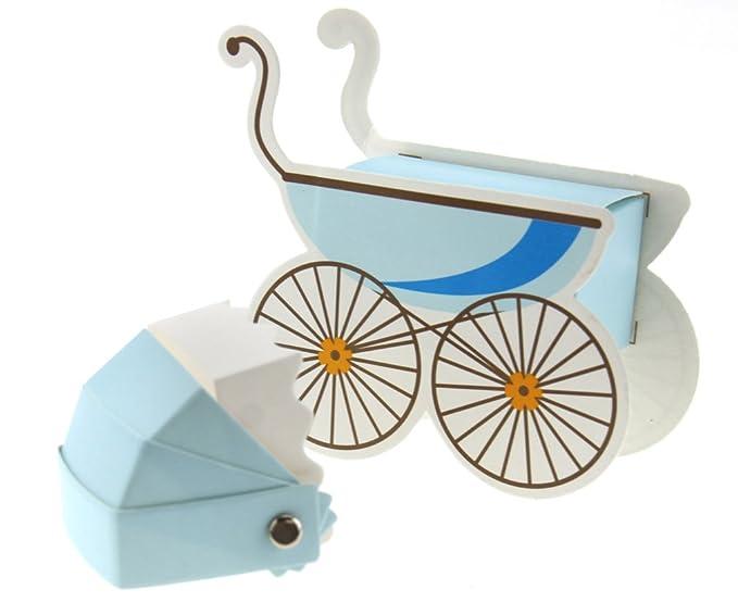 10pcs caja de gominolas - Bombonera para bautizo boda forma de cochecito bebé azul caja de caramelos regalo creativo: Amazon.es: Bricolaje y herramientas