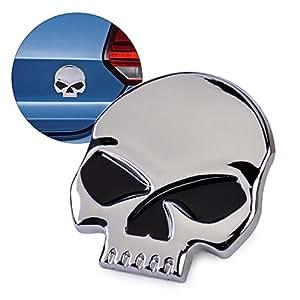 beler 3D Silver Skull Skeleton Metal Car Decal Devil Head Emblem Logo Badge Auto Motorcycle Sticker