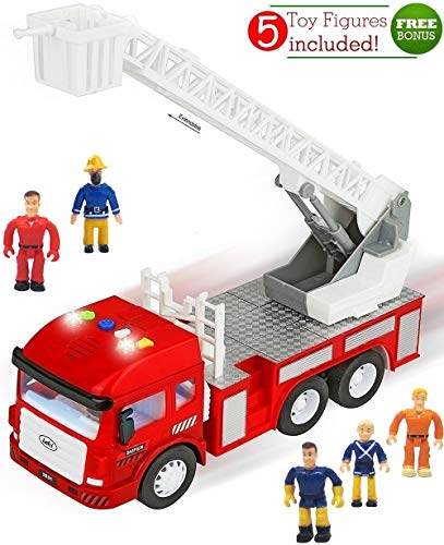 FUNERICA Toy Fire Truck with Lights and Sounds - 4 Sirens - Extending Ladder - Powerful Friction Rolling - for Kids & Toddlers