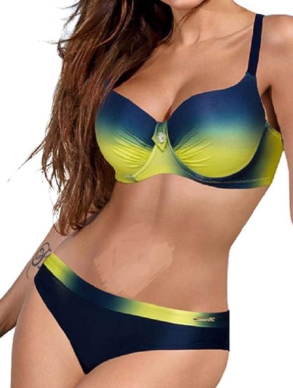 pretty nice ce231 b2ae8 UMIPUBO Costumi da Bagno Push Up Imbottito Costumi da Mare Donna Due Pezzi  Bikini Sexy Spiaggia Beachwear Swimwear