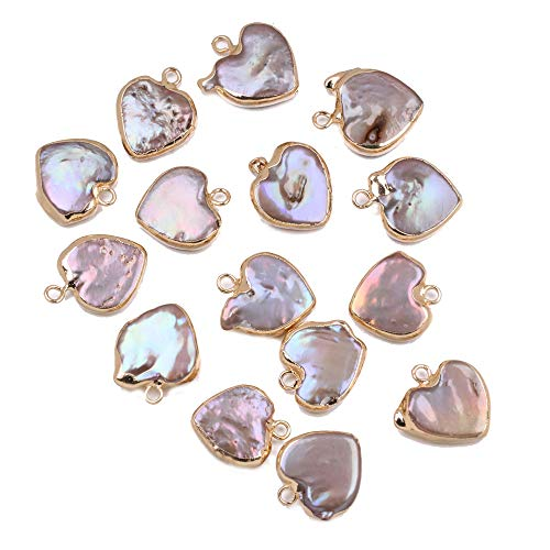 Pearl Charms,Heart Freshwater Pearl Charms Pendants with Golden Edge Wrapped Iron Findings Charms for Jewelry Making DIY Handmade Accessories (5 PCS)