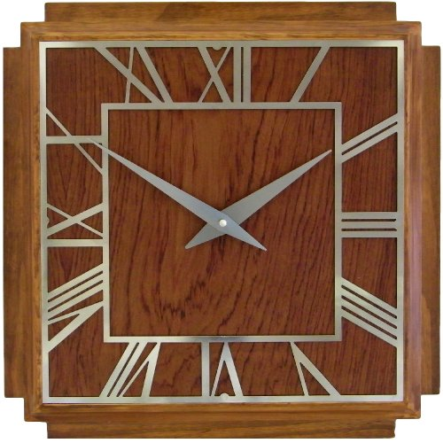 Wonderful Roger Lascelles A Square Wooden Deco Clock, 14.2 Inch