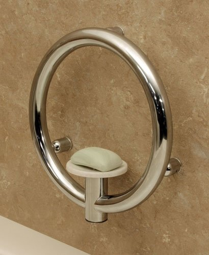 (Invisia Collection: Soap Dish & Integrated Support Rail - Polished Chrome on Stainless Steel )