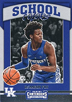 2017-18 Panini Contenders Drafts Picks School Colors #7 De'Aaron Fox Kentucky Wildcats Rookie Basketball Card