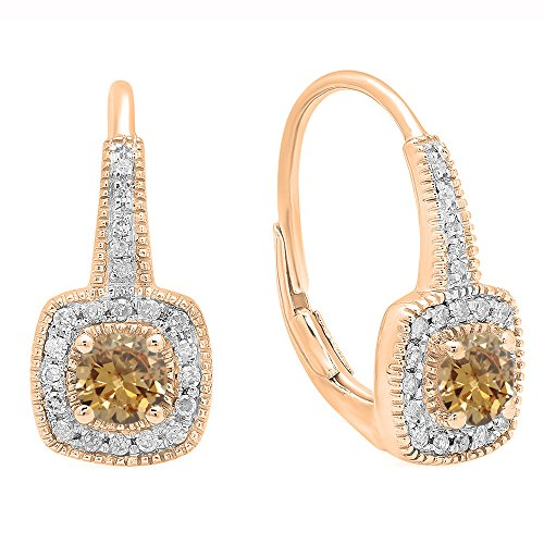 - Fingalo 0.65 Carat (ctw) 10K Rose Gold Round Champagne & White Diamond Ladies Halo Style Dangling Earrings