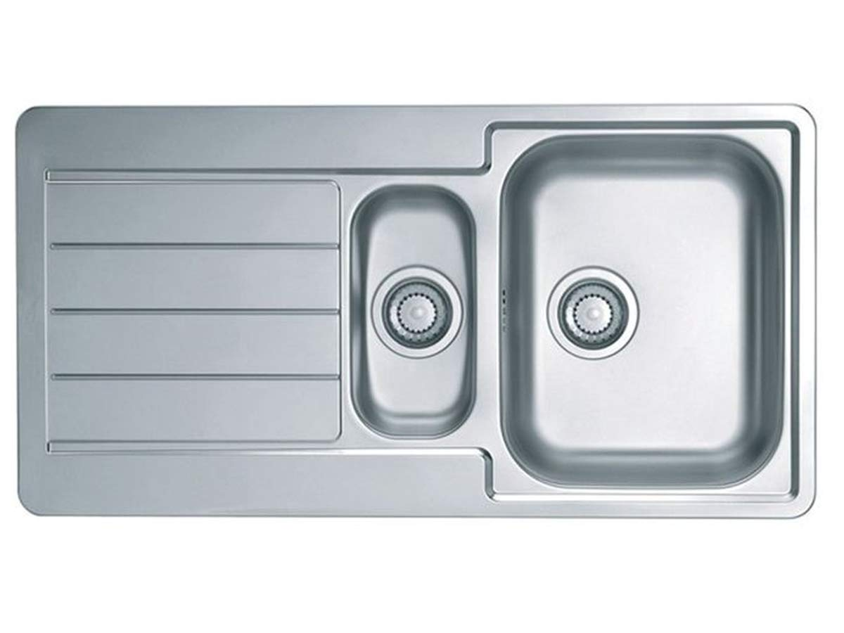 cucina 980 x 500 mm per campeggio Argento 1,5 lavandini struttura satinata Alveus Line 10 VBChome: Lavello da incasso con foro per rubinetto lavandino in acciaio inox