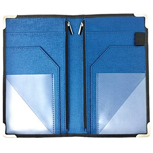 "GOLGINO Server Book for Waitress Waiter Waitstaff 9"" x 5"", Two Zipper Pockets & ID Holder, Premium Receipt Book Organizer Wallet Fits Aprons, 11 Money Pockets for Restaurant Guest Checks (Black/Blue)"