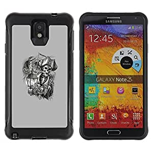 Suave TPU Caso Carcasa de Caucho Funda para Samsung Note 3 / pirate skull captain ship ahoy grey / STRONG
