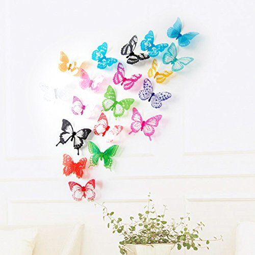 Amaonm® 18 Pcs Removable DIY Pvc 3D Colorful Butterfly Wall Sticker Murals Wall Decals Wall Decorations Art Decor Decal for Nursery Room Classroom Offices Kids Bedroom TV Background Living Room (Decoration Of Class Rooms)