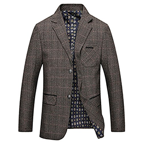 (LINGMIN Men's Herringbone Wool Blazer Jacket 2 Button Casual Working Suit)