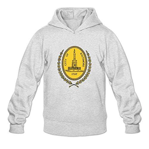Oryxs Men's Baltimore Sweatshirt Hoodie XL Light Grey -