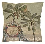 French Pillow 100% Cotton Canvas & Burlap Antique Florida Map and Palms Beige Green Blue British Colonial Throw Pillow Cover Euro Sham
