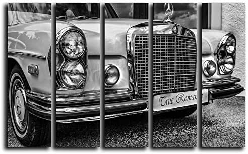 Large Set White Mercedes-Benz Wall Art Decor Picture Painting Poster Print on 5 Canvas Panels Pieces - Vintage Car Theme Wall Decoration Set - Vehicle Wall Picture for Showroom Office 35 by 55 in