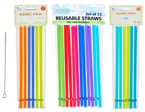 Set of 24 Red Yellow Green Blue Orange Rainbow Color Replacement Reusable Tumbler Water Bottle Acrylic Straws with STRAW CLEANER BRUSH
