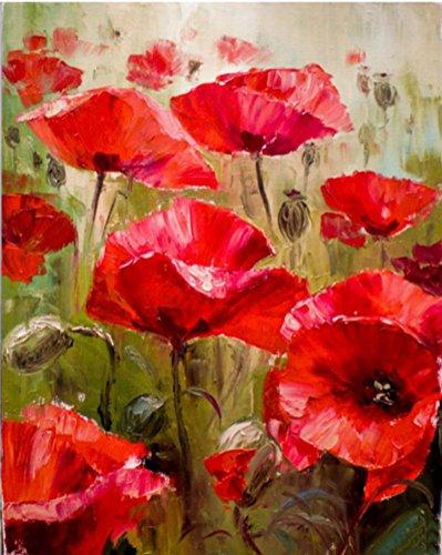 Sans Cadre Peinture Par Numéro Kit, Fleur Peinture À L'huile De Bricolage