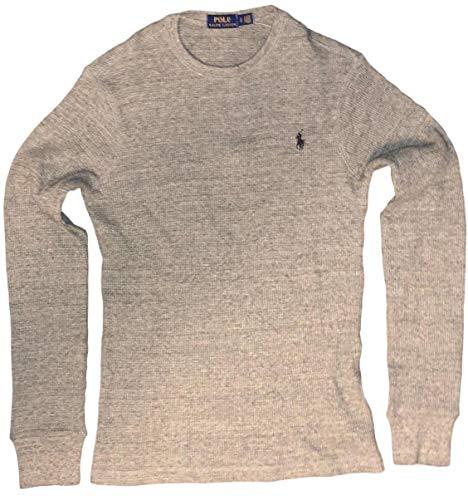 Polo Ralph Lauren Mens Long Sleeve Waffle Knit Crewneck, S, White Mu ()