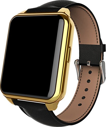 LightingFox F2 Bluetooth Smart Watch WristWatch Waterproof IP67 Support Sync Phone Call Pedometer Anti-lost Heart Rate Smartwatch for IOS and Android System Smartphones (Gold)