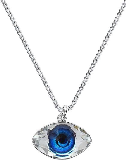 Crystals & Stones – Couleur : bleu – Chaîne pour femme avec cristaux  Swarovski – Argent 925 – Collier avec chaîne en argent - Œil