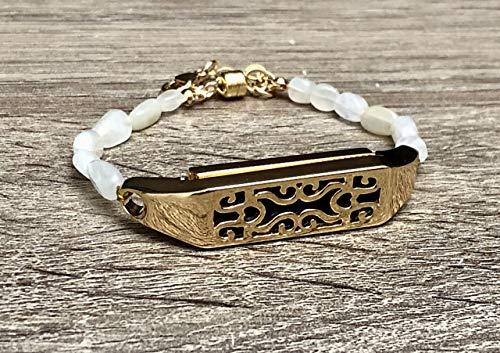 White Moonstone Bracelet For Fitbit Flex 2 Tracker Handmade Natural Shape Stones Fitbit Flex 2 Band Gold Metal Holder Magnetic Clasp Jewelry Adjustable Size Fitbit Flex 2 Bracelet