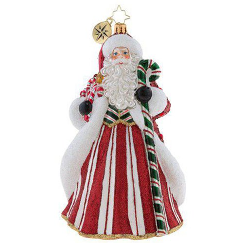 Christopher Radko Peppermint Candy Kringle Santa Glass Ornament