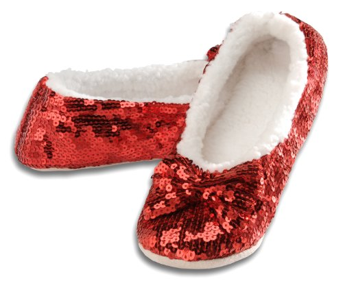 Snoozies Women's Ballerina Metallic Shine Red Sequin Slippers-Small -