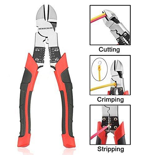Side Cutting Pliers, Industrial Pliers with Wire Stripper/Crimper/Cutter Function, Heavy Duty Plier, 8-1/2 inch NEWACALOX