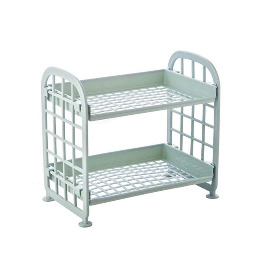Wildtrest Multi-Functional Double Layers Hollow Out Stand Rack Storage Shelves Drain Trays