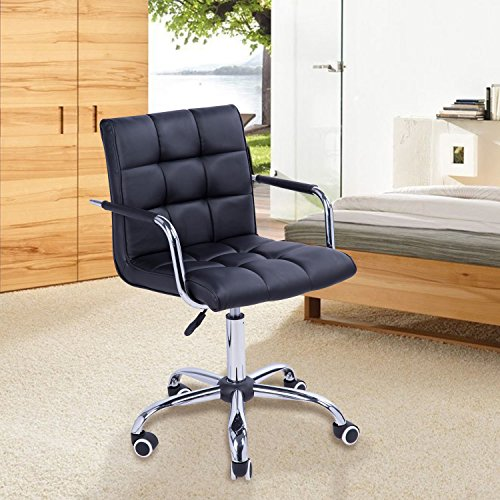 (n-Bright Chair Office Computer Desk Executive Modern PU Leather Swivel Color Black)