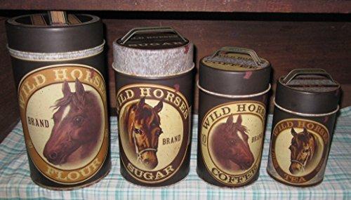 Horse Decor Kitchen (Rustic Wild Horse Brand Canister Set Food Safe Tin Metal Vintage sugar flour coffee tea by Ohio Wholesale)