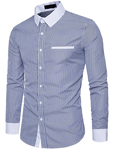 Stripe Button Hipster (WHATLEES Mens Hipster Slim Fit Long Sleeve Pinstripe Casual Button Down Shirt with Fake Pocket T116 Navy Blue X Large)