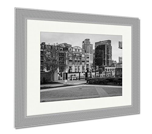 Ashley Framed Prints Downtown Federal Hill Baltimore Maryland During Winter, Contemporary Decoration, Black/White, 26x30 (frame size), Silver Frame, - Inner Shops Baltimore Harbor