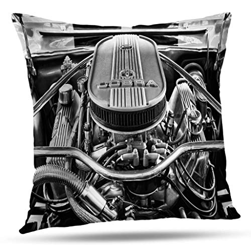 Kutita Vintage Car Decorative Pillow Covers, Black and White Car Vintage Retro Black White Air Ancient Antique Auto Throw Pillow Decor Bedroom Livingroom Sofa 18X18 inch