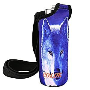 "ICOLOR Water Bottle Carrier, Neoprene Water Bottle Holder with Adjustable Shoulder strap,Sling insulated Sports Water Bottle bag Case Pouch Cover,Fits Bottle w/ the diameter less than 2.75 "" (WBC-001)"
