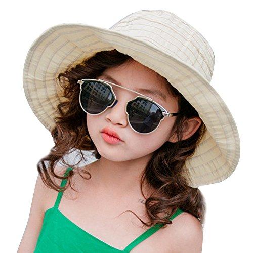 PT FASHIONS Summer Wide Brim Foldable Sun Hat Beach UPF 50+ Visor Cap Women Kids-Kbeige