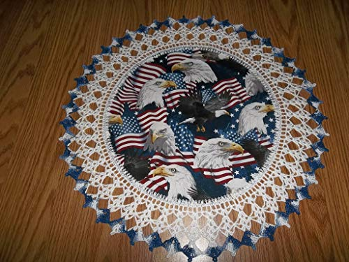 (Patriotic Doily Eagles and Flags 4th of July Table Topper Round Lace Table Decoration Fabric Center Doily Crocheted Edge 18 Inches Centerpiece)