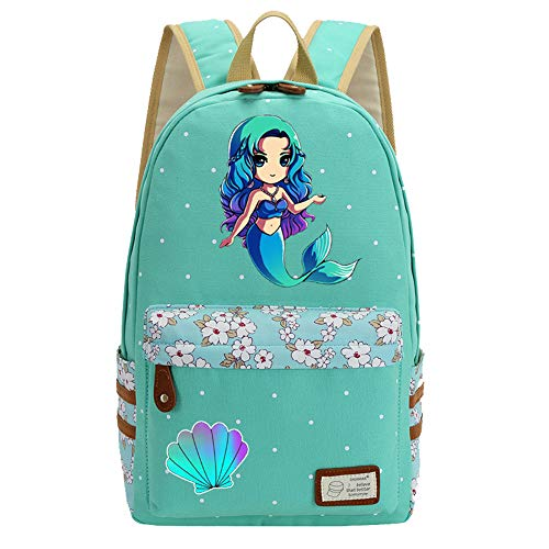 (Mermaid Unicorn Flowers Canvas Princess Women Backpack Shoulder Bag GREEN)